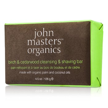 John Masters Organics Береза и Кедр Очищающее Мыло для Бритья 128g/4.5oz