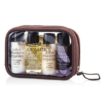 John Masters Organics Travel Kit: Shampoo + Detangler + Body Wash + Body Lotion + Pouch 4pcs+1pouch