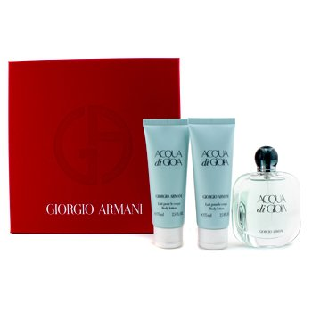 Giorgio ArmaniAcqua Di Gioia Coffret: Eau De Parfum Spray 50ml/1.7oz + 2x Body Lotion 75ml/2.5oz (Red Box) 3pcs