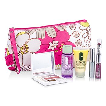 CLINIQUE Travel Set: Makeup Remover + D.D.M.L. + Colour Palette + Mascara + Lip Colour #76 & #18+ Bag 5pcs+1bag