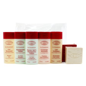 Clarins Eau Dynamisante Body Coffret: Body Exfoliator + Body Lotion + Shower Gel + Shampoo + Conditioner + Soap  6pcs+1bag