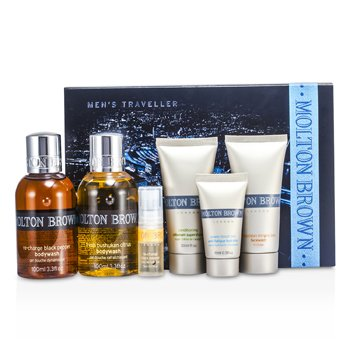 Molton Brown Men's Traveller: Black Pepper Bodywash + Citrus Bodywash + Mineral Ions Facewash + Supershave + Hydrator + Black Pepper EDT + Bag  6pcs+1bag