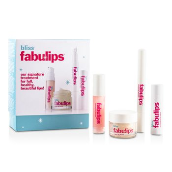 BlissFabulips Treatment Kit: Lip Cleanser + Lip Scrub + Lip Plumper + Lip Balm 4pcs