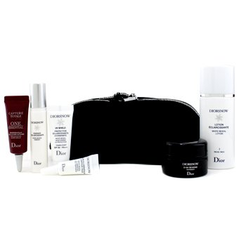 Christian Dior Kit de viagem Diorsnow: Lo��o + Essence + Creme noturno D-NA  + UV Shield + Tratamento p/ os olhos + One Essential Serum + Nescessaire (Black)  6pcs+1bag