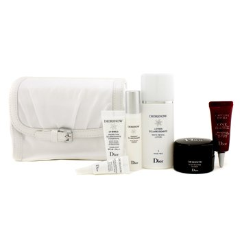 Christian DiorDiorsnow Travel Set: Lotion + Essence + D-NA Night Creme + UV Shield + Eye Treatment + One Essential Serum + Bag (White) 6pcs+1bag