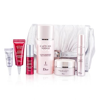 Christian Dior Capture Totale Travel Set: Lotion + Creme + Serum + One Essential + Eye Essential + Eye Creme + Bag  6pcs+1bag