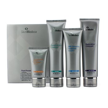 Skin Medica Post Procedure System: Sensitive Skin Clenaser 88.7ml + Restorative Ointment 85g + TNS Ceramide Treatment Cream 85g + Environmental Defense Sunscreen SPF 30+ 28.3g  4pcs