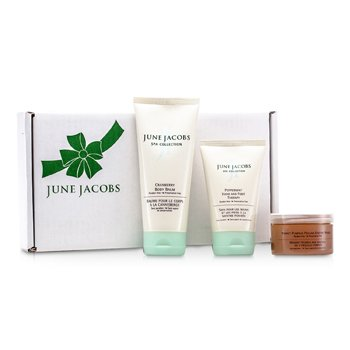 June JacobsAt Home Spa Kit: Peeling Masque + Hand & Foot Therapy + Body Balm 3pcs