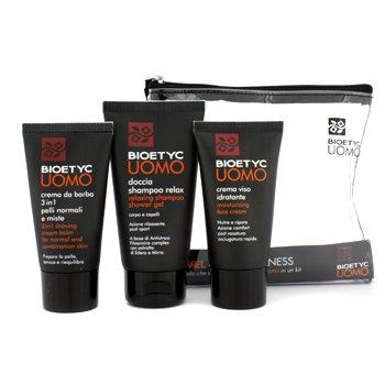 Uomo Travel Pack (Wellness): Moisturizing Face Cream 50ml + 3 in 1 Shaving Cream Balm 50ml + Relaxing Shampoo Shower Gel 75m Bioetyc Дорожная Упаковка Уомо (Озд