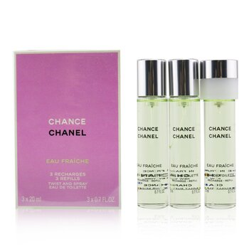 ChanelChance Eau Fraiche Twist & Semprot Eau De Toilette Isi Ulang 3x20ml/0.7oz