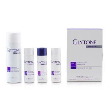 Glytone Rejuvenate System Kit: Gel Wash 200ml + Facial Lotion 60ml + Exfoliating Lotion 60ml + Peel Gel 60ml  (Normal to Oily Skin)  4pcs