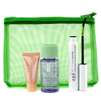 Clinique Lengthen & Define: 1x High Lengths Mascara, 1x All About Eyes Serum, 1x Take The Day Off Makeup Remover, 1x Bag  3pcs+1bag