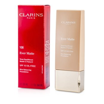 Clarins Ever Matte Skin Balancing Oil Free Foundation SPF 15 - # 108 Sand  30ml/1.1oz