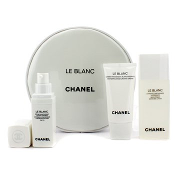 Chanel Le Blanc Whitening Travel Kit (Limited Edition): Moisture Lotion 50ml + Moisture Cream 30ml + Concentrate 15ml + Pouch  3pcs+1pouch