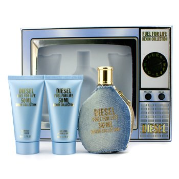 Diesel Fuel For Life Denim Collection Femme Coffret: Edt 50ml/1.7oz+ Shower Gel 50ml/1.7oz+ Body Lotion 50ml/1.7oz+ Edt Pour Homme Spray 1.5ml/0.05oz  4pcs