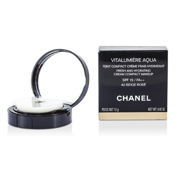 Chanel Creme Vitalumiere Aqua Fresh And Hydrating Cream Compact MakeUp SPF 15 - # 42 Beige Rose  12g/0.42oz