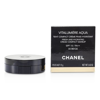 Chanel Vitalumiere Aqua Fresh And Hydrating Cream Compact MakeUp SPF 15 - # 30 Beige  12g/0.42oz