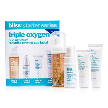 BlissTriple Oxygen Starter Kit: Cleansing Foam 50ml + Mask 10ml + Eye Gel 5ml + Energizing Cream 15ml 4pcs