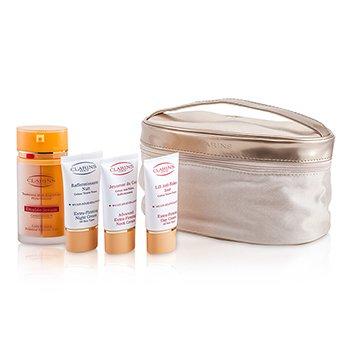 Clarins Firming Age-Control Booster Set: Double Serum 2x15ml + Day Cream 15ml + Night Cream 15ml + Neck Cream 15ml + Bag  4pcs+1bag