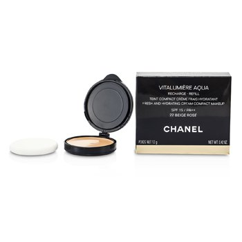 Chanel P� facial Vitalumiere Aqua Fresh And Hydrating Cream Compact MakeUp SPF 15 Refill - # 22 Beige Rose  12g/0.42oz