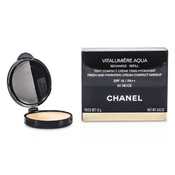 Chanel P� facial Vitalumiere Aqua Fresh And Hydrating Cream Compact MakeUp SPF 15 Refill - # 30 Beige  12g/0.42oz