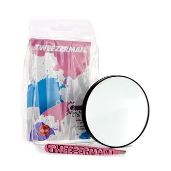 Tweezerman Slant Tweezer (Pattern Prints) With Tweezermate 10X Mirror - Graffiti Pink  2pcs