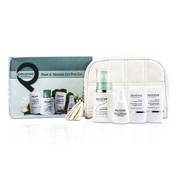 Pevonia BotanicaPeel & Reveal On-The-Go: Phyto-Gel Cleanser 50ml + Collagen Cream 15ml + Peeling Cream 15ml + Collagen Concentrate 15ml + Bag 4pcs+1bag