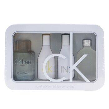 Calvin Klein Edisi Pengembara Coffret: CK One Wewangian 15ml/0.5oz + CK Free Wewangian 10ml/0.33oz + IN2U Women Wewangian 15ml/0.5oz + IN2U Men Wewangian 15ml/0.5oz  4pcs