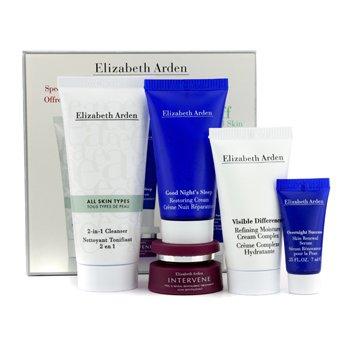 Elizabeth ArdenSet The Right Stuff Para Piel Normal: Limpiador 50ml + Crema Restauradora 30ml + Crema Hidratante 30ml + Tratamiento 7.5ml + Suero Renovador 7ml 5pcs