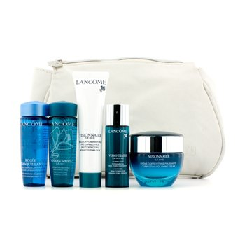 Lancome Visionnaire Set: Polishing Cream + Emulsion + Lotion + Make Up Remover +  Skin Corrector + Bag  5pcs+1bag