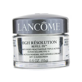 LancomeHigh Resolution Refill 3X Triple Action Renewal Anti-Wrinkle Cream SPF15 (Unboxed Travel Size, Made in USA) 15g/0.5oz