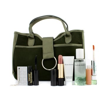 Elizabeth Arden Green Tea Travel Set: Dual-Ended Parfumee & Lipgloss+ Mascara+ Lipstick+ Remover+ 8 Hour Cream+ Mirror+ Bag  6pcs+1bag