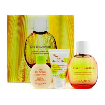Clarins Eau Des Jardins Coffret: Fragrance Spray 100ml/3.4oz + Body Cream 50ml/1.7oz + Shower Gel 50ml/1.6oz  3pcs