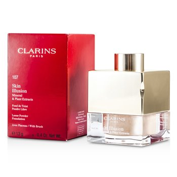 Clarins Skin Illusion Mineral & Plant Extracts Base Maquillaje Polvos Sueltos (Con Brocha)- # 107 Beige  13g/0.4oz