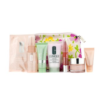 Clinique Travel Set: Cleanser 30ml + Moisture Surge 15ml + Super City Block 15ml + Face Spary 30ml + Eye Serum 5ml + Eye Mask + Lip Balm + Bag  7pcs+1bag