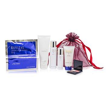 ShiseidoRevital Set: Gel de Ducha Perfumado + Hidratante Blanqueador EX II + Espuma Limpiadora II + Hidratamte Blanqueador EX II + M�scara Lifting Science EX + Maquillaje 6pcs