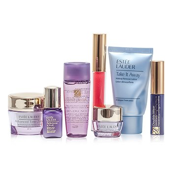 Estee LauderTravel Set: Makeup Remover 30ml + Optimizer 30ml + Day Cream 15ml + Serum 7ml + Eye Cream 5ml + Mascara #01 + Lip Gloss #30 7pcs