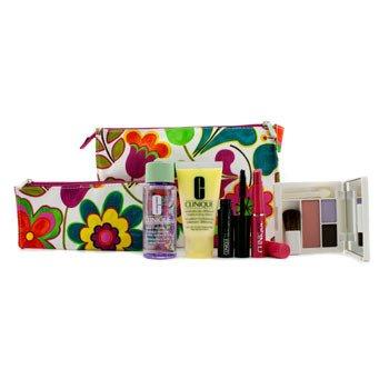 CliniqueTravel Set: Makeup Remover 50ml + DDML 30ml + Colour Palette (# Pink Blush) + Mascara 3.5ml + Lipstick 1.2g + 2x Bag 5pcs+2bags