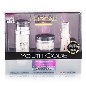 L'OrealYouth Code Clinical Strength Starter System: Day Lotion 30ml + Night Cream 14g + Eye Cream 10ml 3pcs