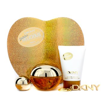 DKNY Golden Delicious -rasia: Eau De Parfum -suihke 100ml/3.4oz + -vartalovoide 100ml/3.4oz + miniatyyri + avaimenper�  4pcs