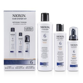 NioxinSystem 6 Kit For Medium to Coarse & Normal to Thin-Looking Hair: Cleanser 300ml + Scalp Therapy 150m 3pcs