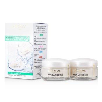 L'OrealHydrafresh 2 Ultra-Hydrating Creams (Day to Sensitive Skin) 2x50ml/1.7oz