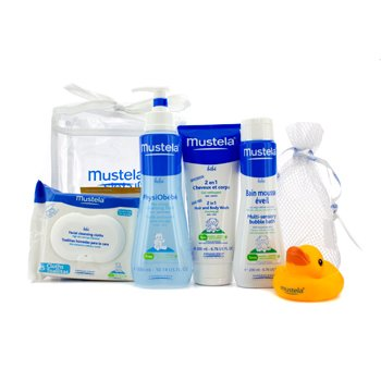 Mustela Bath Time Essentials Set: Cleansing Fluid 300ml + Body Wash 200ml + Bubble Bath 200ml + Cleansing Cloths + Gift 5pcs