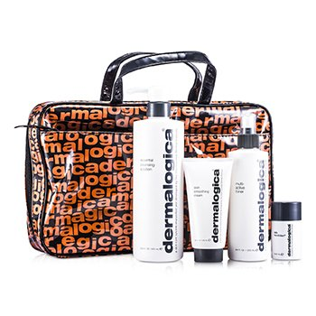 Dermalogica Festive Set: Essential Cleansing Solution 500ml + Multi-Active Toner 250ml + Skin Smoothing Cream 100ml + Daily Microfoliant 13g  4pcs