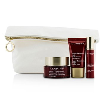 Clarins Colecci�n Super Restoradora: Crema D�a 50ml + Noche 15ml + Serum 10ml + Neceser  3pcs+1bag