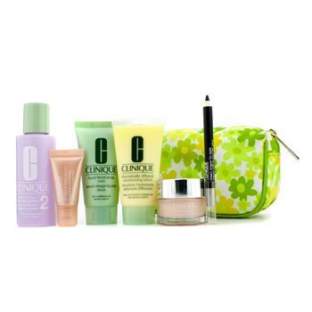 Clinique Set Viaje: Jab�n Facial 30ml + Loci�n Blanqueadora #2 60ml + DDML 30ml + Fuente Hidratante15ml + Serum Ojos 5ml + Delineador Ojos + Neceser  6pcs+1bag
