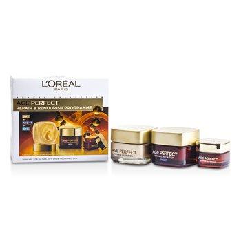 L'OrealDermo-Expertise Age Perfect Repair & Renourish Programme: Day Cream 50ml + Night Cream 50ml + Eye Cream 15ml 3pcs