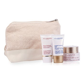 Clarins Vital Light Set (Dry Skin): Day Cream 50ml + Night Cream 15ml + Gentle Refiner 15ml + Bag  3pcs+1bag
