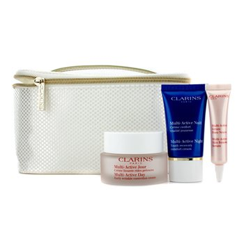 ClarinsMulti-Active Collection (All Skin Types): Day Cream 50ml + Night Cream 15ml + Renewal Serum 10ml + Bag 3pcs+1bag