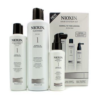 Nioxin System 1 System Kit For Fine Hair  Normal to Thin-Looking Hair (Box Slightly Damaged) 3pcs